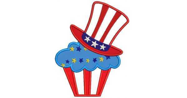 American Hat on a Cupcake 4th of July Independence Day Applique Machine  Embroidery Digitized Design Pattern.