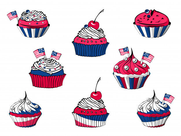 Vector set of july 4th cartoon cupcakes, american sweets.