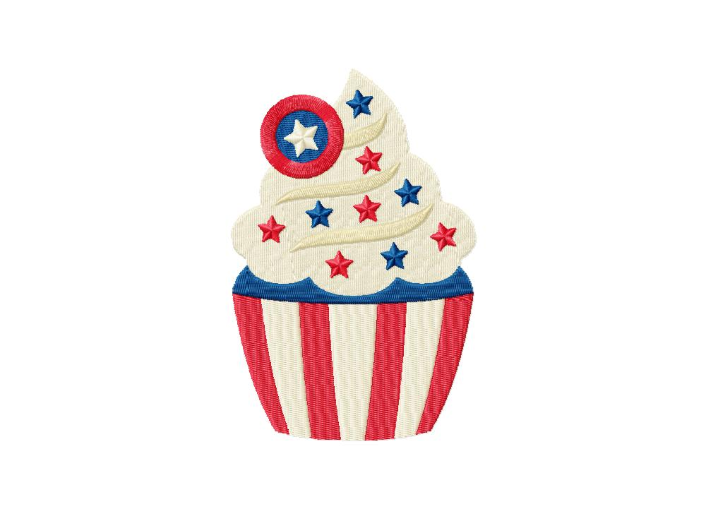 4th of July White Cupcake with Red and Blue Sprinkles.