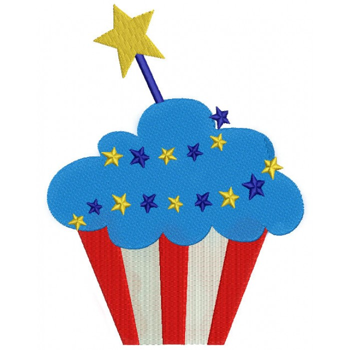 American Flag Cupcake with a Star 4th of July Independence Day Filled  Machine Embroidery Digitized Design Pattern.