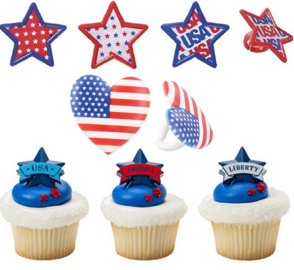 24 ct. 4th of July Banner, Star and Flag Combo Cupcake Topper Rings.
