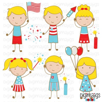 4th of July Clipart Set, Independence Day Clipart, Fireworks Graphics,.
