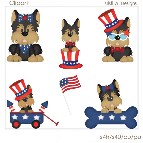 4th Of July Dog Clipart.