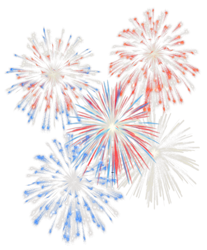 4th July Transparent Fireworks PNG Picture.