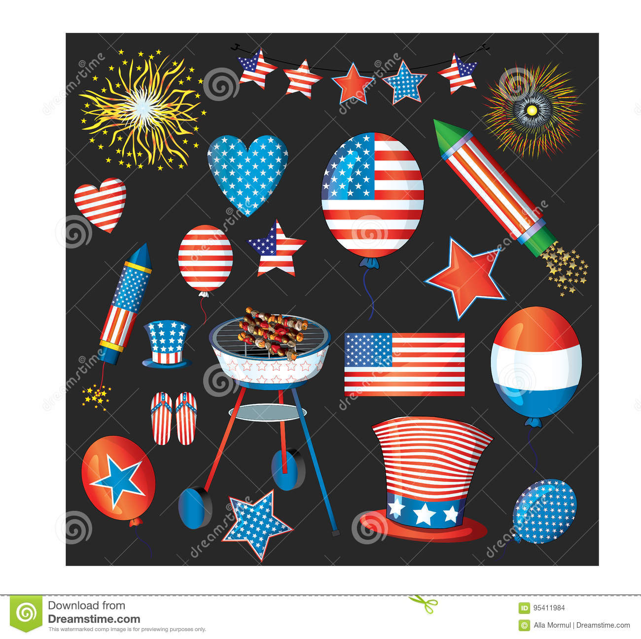 Independence Day Vector Pack. Fourth Of July Fireworks. USA.