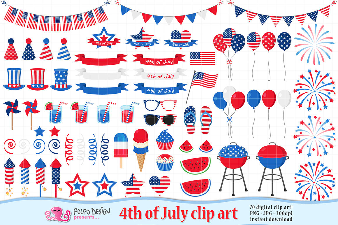 4th of July clip art By Polpo Design.