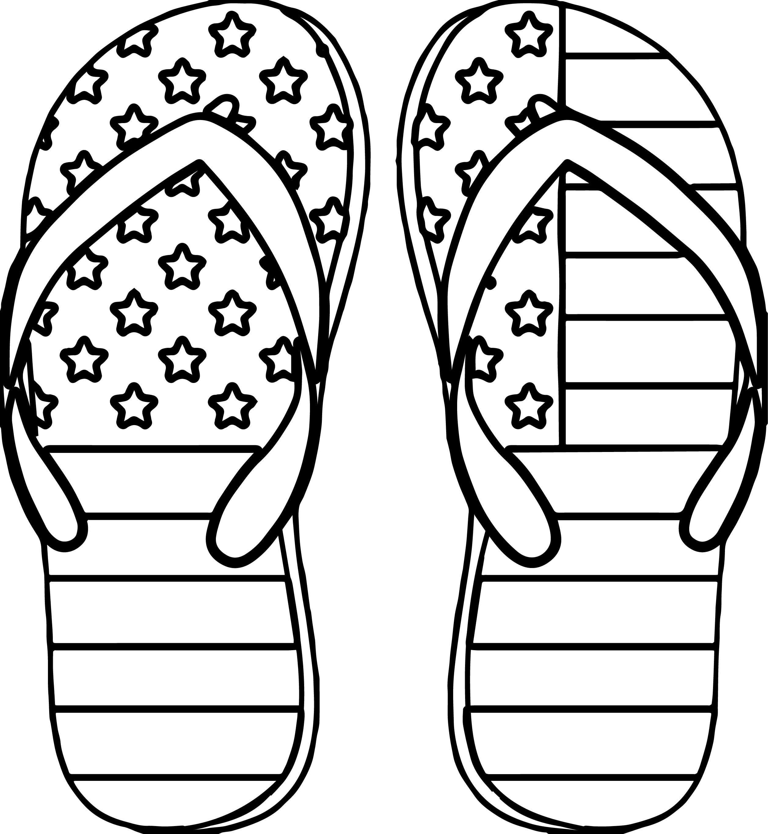 awesome 4th July Slipper Coloring Page.