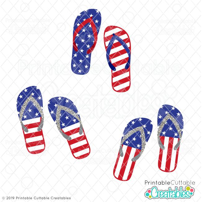 US Flag Flip Flops FREE SVG Files & Clipart for Cricut.