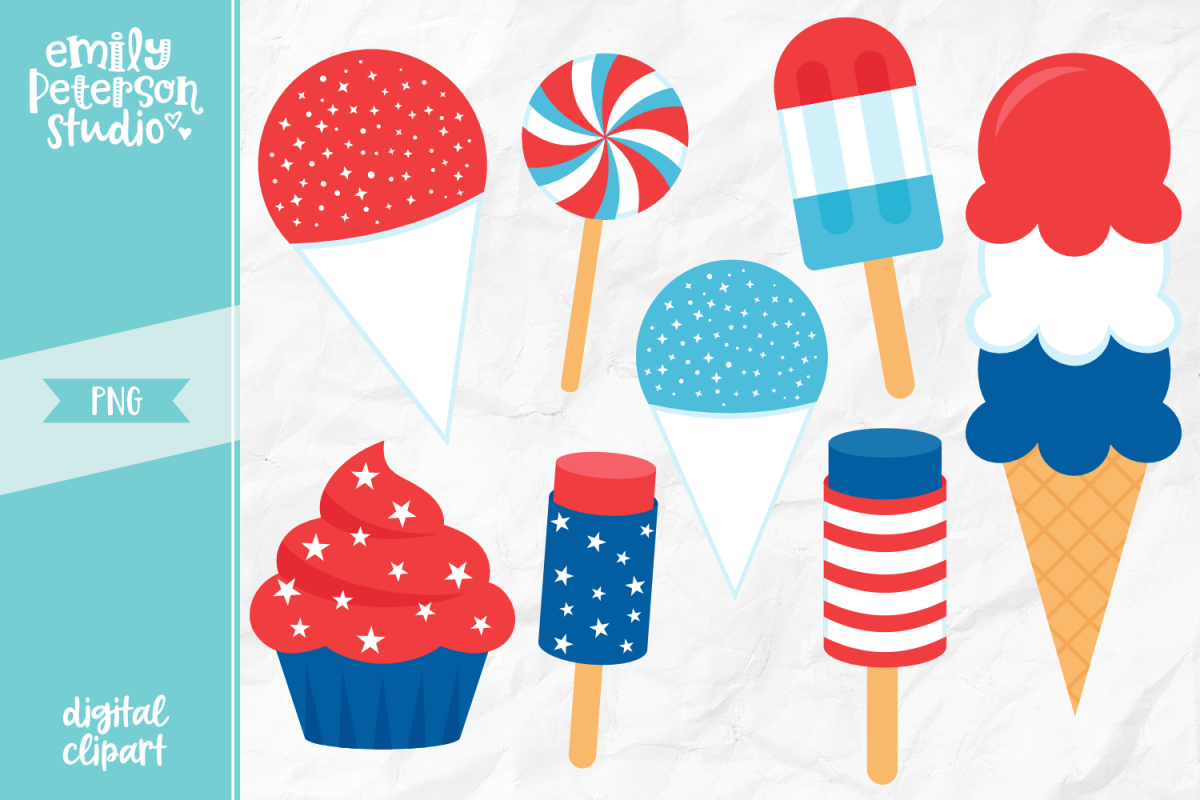 4th of July Sweets Clipart Illustration PNG.