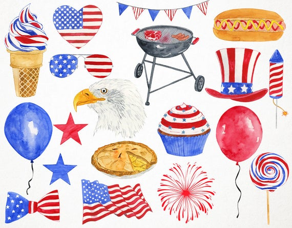 4th of july clipart, 4th of july clip art, fourth of july clipart,  watercolor clipart, 4th of july watercolor clipart, 4th july clipart.