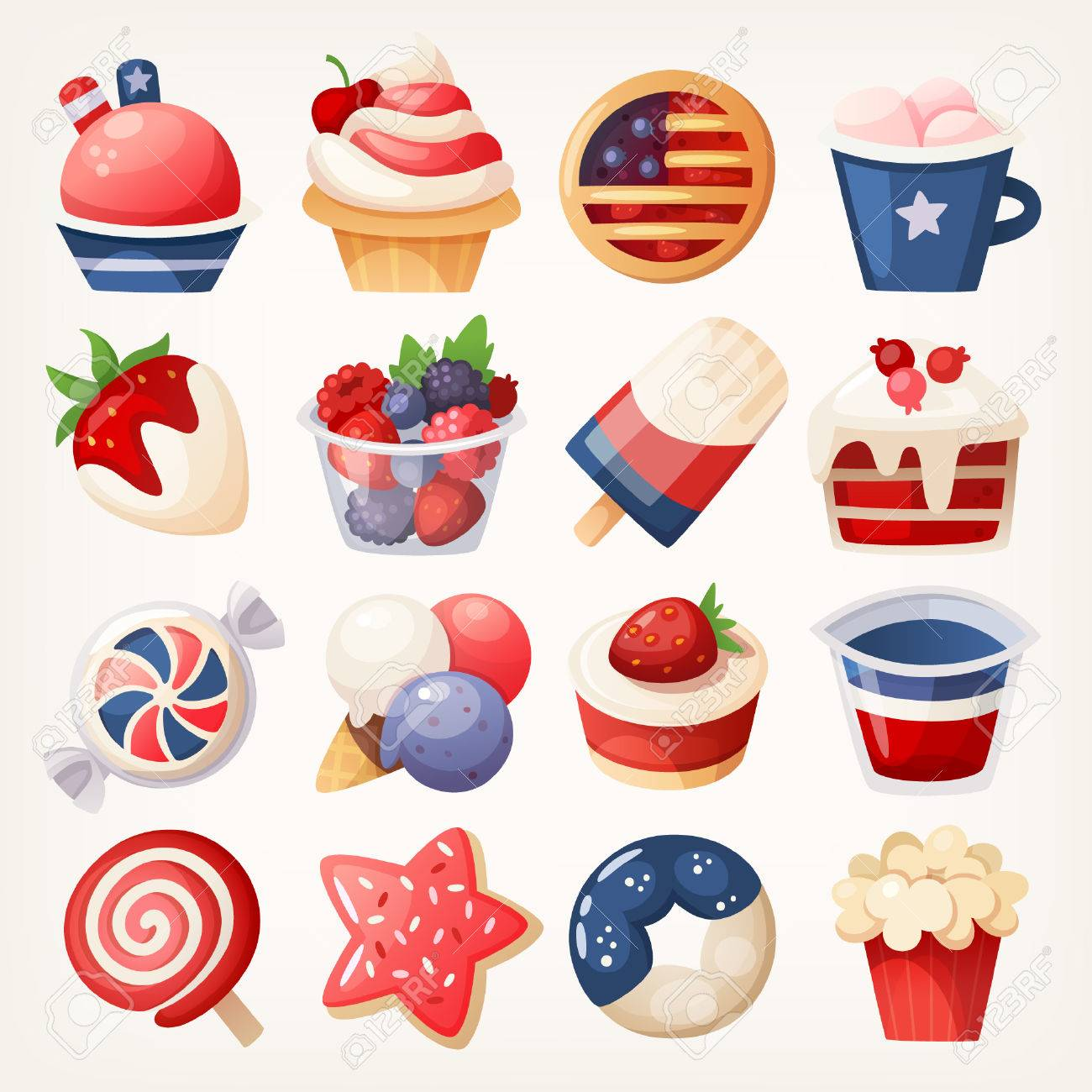Summer fruit and desserts decorated for the 4th of july. Stickers...