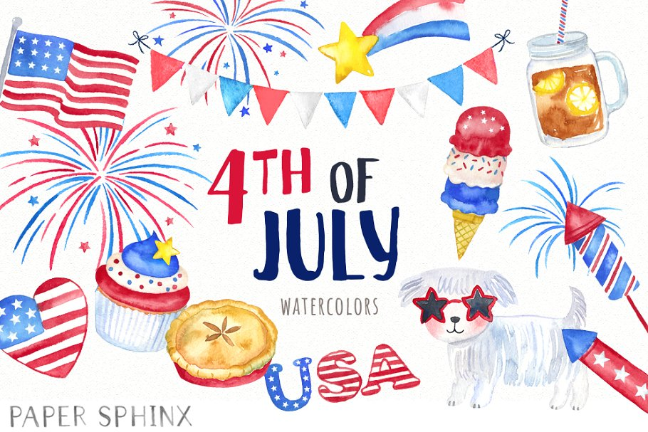 4th of July Clipart Pack.