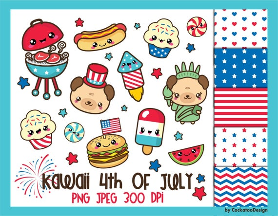 4th of July clipart, 4th of July clip art, kawaii clip art, patriotic  clipart, kawaii clipart, 4th digital papers, Commercial Use.