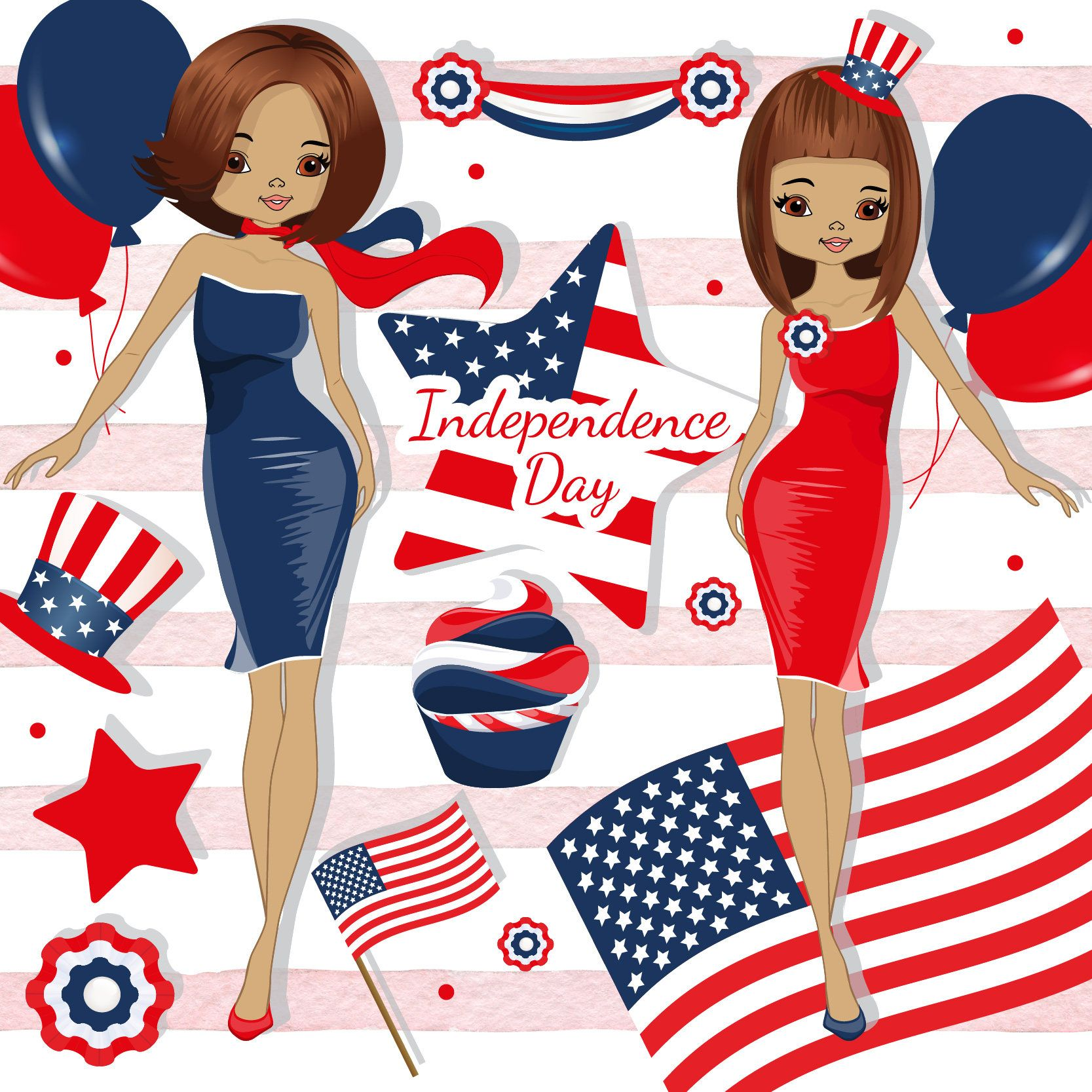 4th of July clipart, Independence day clipart, Patriotic.