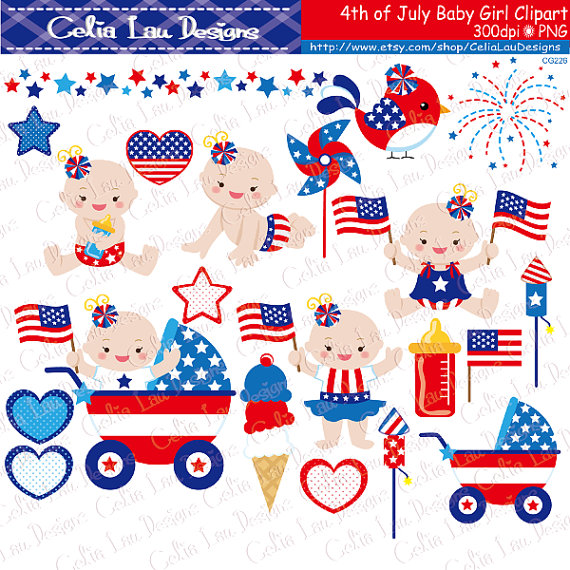 4th of July Baby Girl Clipart/ First Patriotic Day Clipart.