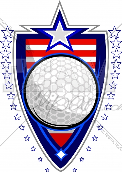July 4th Golf Clipart Image. Easy to Edit Vector Format..