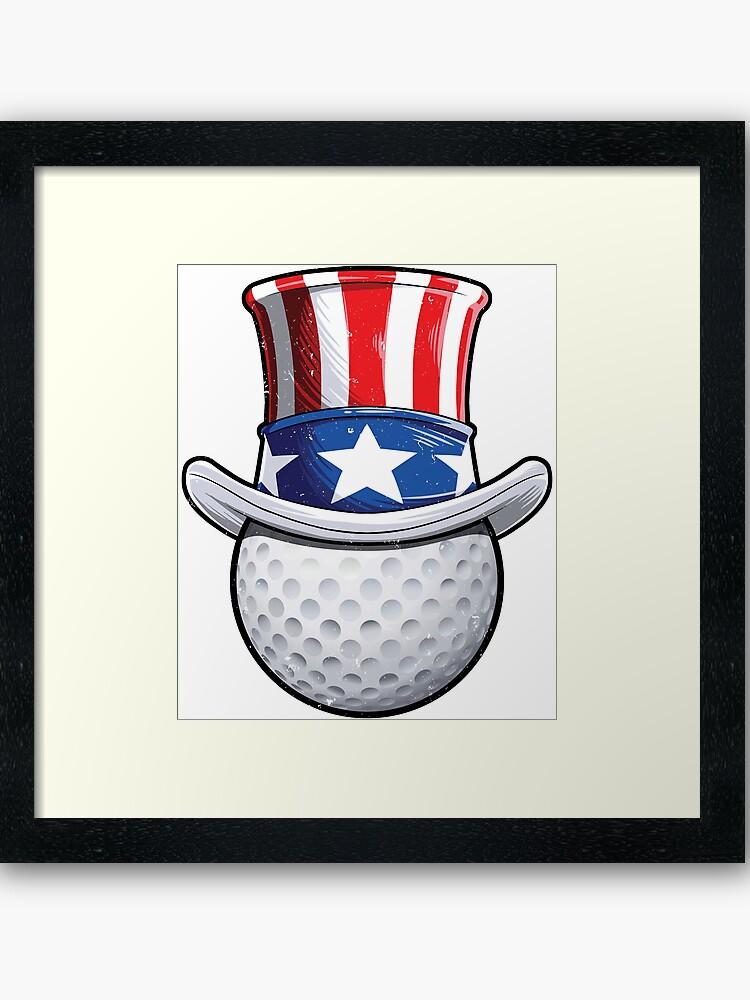 Uncle Sam American Flag Hat T shirt Golf Golfer 4th of July.