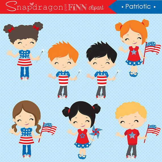 Patriotic clipart Independence Day July 4th clipart.
