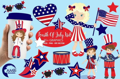 Fourth of July clipart, Kids Clipart, Independence Day clipart, 4th of July  clipart, digital clip art, AMB.
