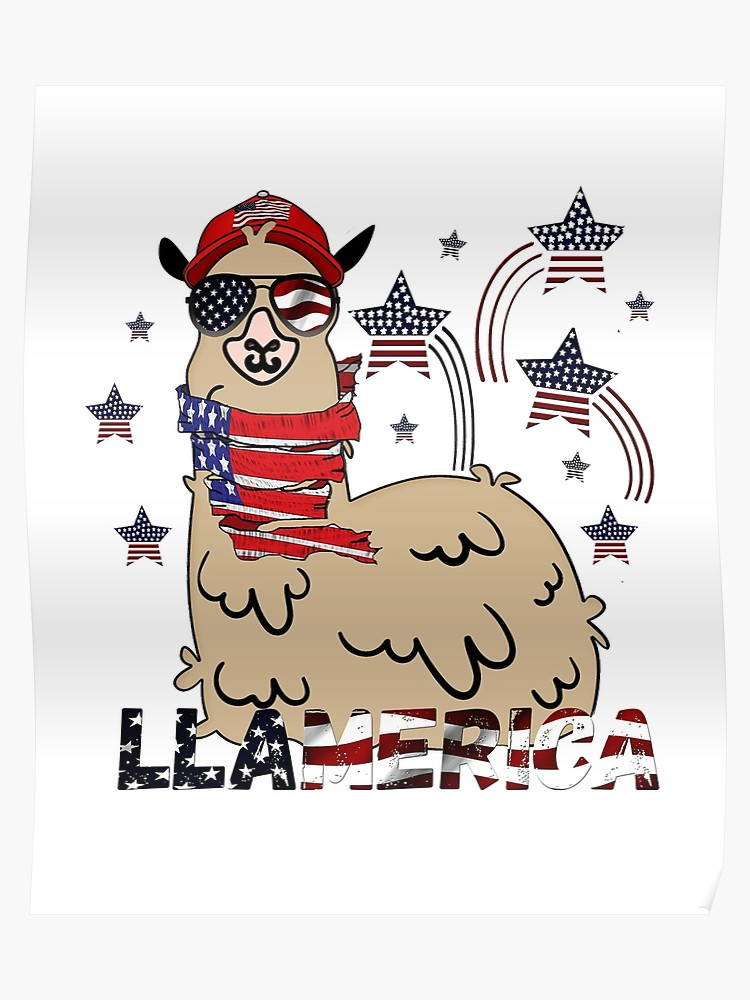 4th of July USA Patriotic Llama Tee Shirt America Alpaca Independence Day  gift idea.