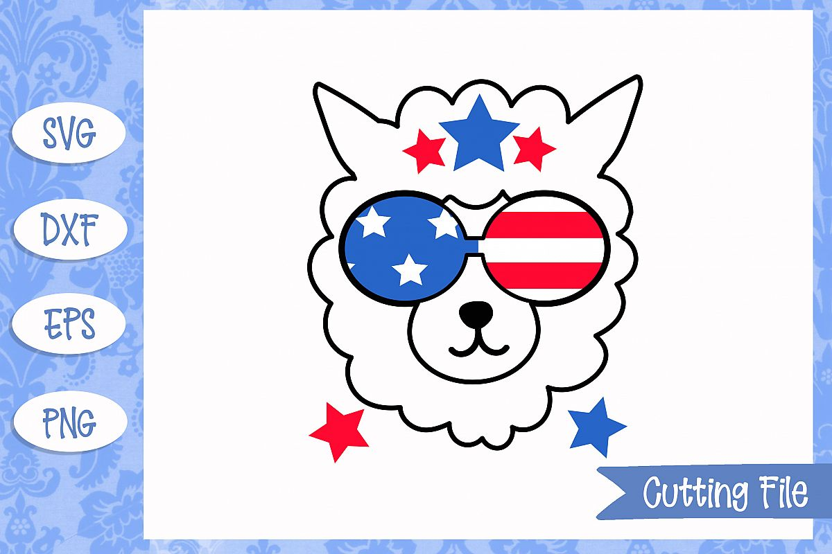 4th July Llama SVG File.