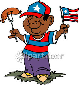 Black Boy Eating a Hot Dog on the Fourth of July.