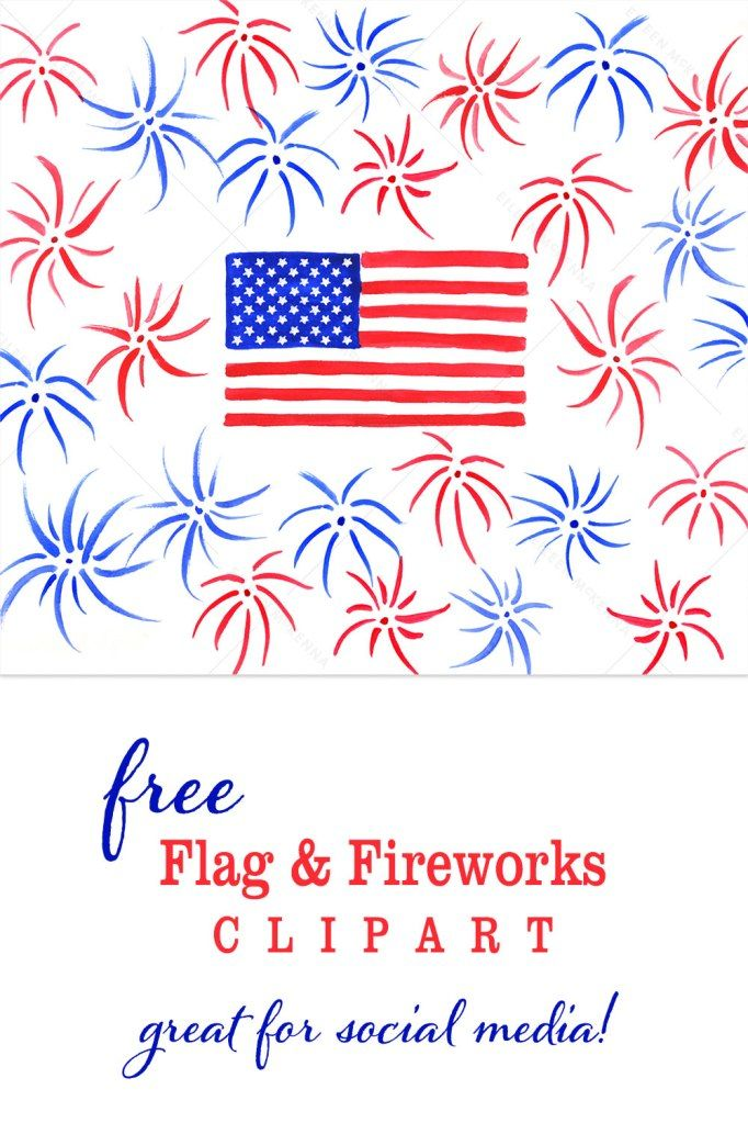 Free Watercolor USA Flag & Fireworks.