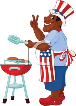 Cartoon of an African American Dad Grilling on the 4th of July.