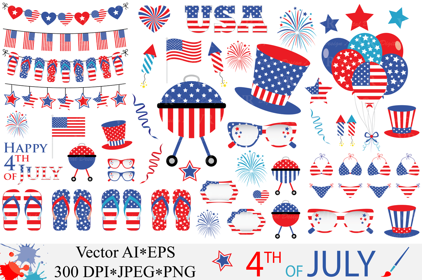 4th of July Clipart / USA Independence Day vector graphics By VR.