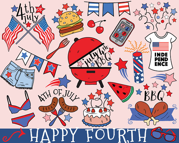 4th of July Clipart vector fourth of July bbq clipart.
