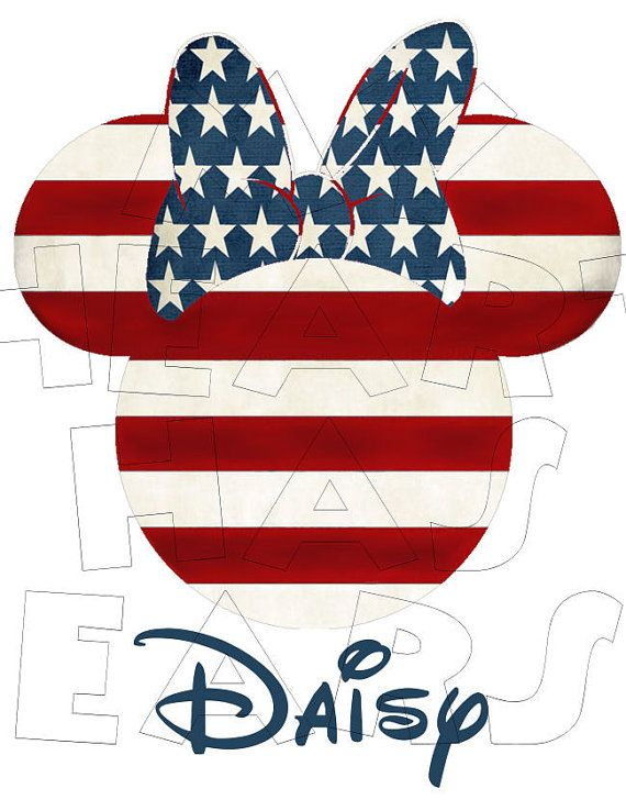 Printable DIY American Minnie Mouse 4th of July USA.
