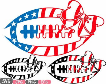 American flag Football Bow Sports Silhouette clipart shirt 4th of July.
