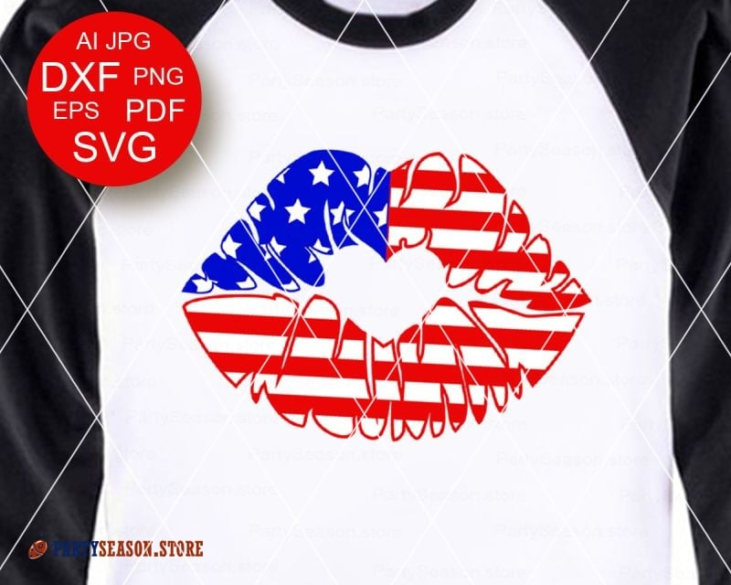 America Flag Svg Lip SVG Patriotic t shirts design Kiss Clipart  Independence day decor July 4th Fourth of july Dxg Eps Png Cricut Silhouette.