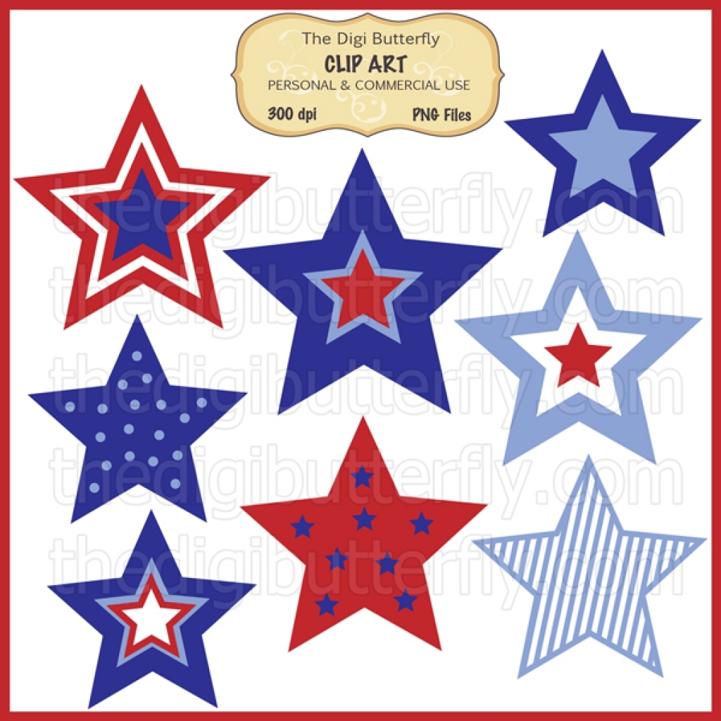 July 4th stars clip art set for clipart of.