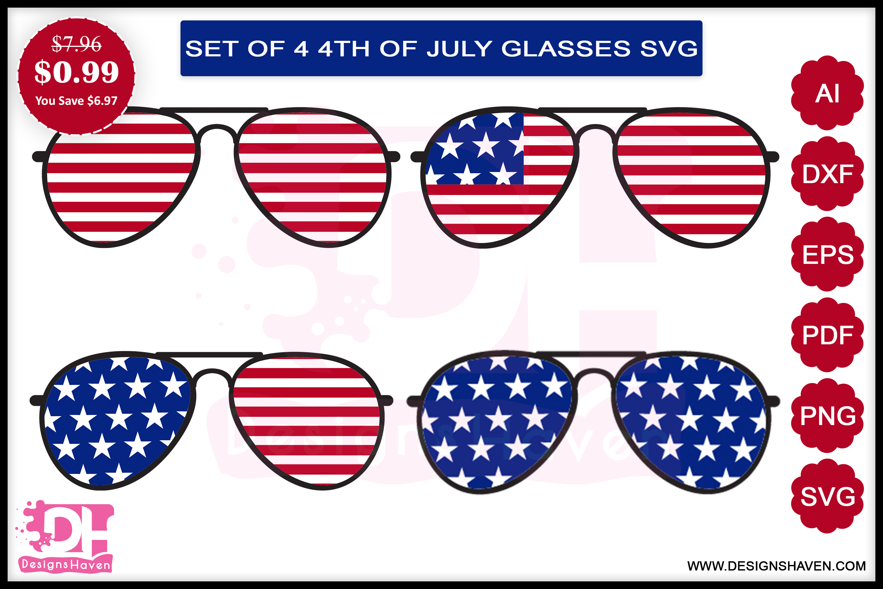 4th July Glasses Svg, Eps, Png, Dxf, Pdf.