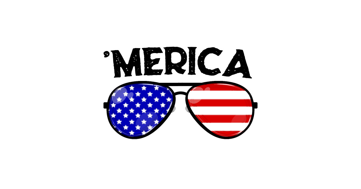 Merica 4th of July USA Flag Patriotic Sunglass by joydee.