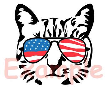 Cat USA Flag Glasses Silhouette SVG clipart Head Farm Kitten kitty 4th July  847S.