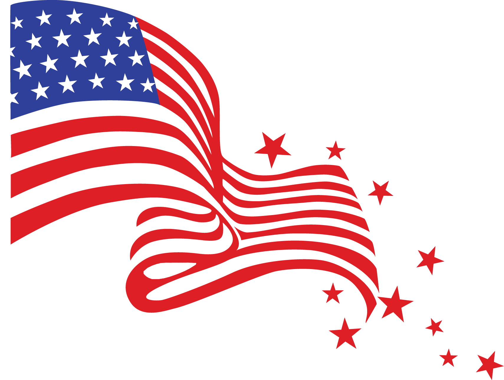 Happy Fourth Of July Flag transparent PNG.