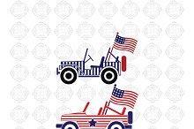 Usa truck. Clipart set ~ Illustrations ~ Creative Market.