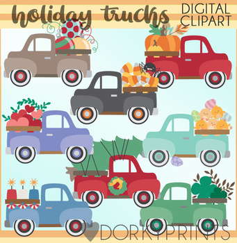 Holidays in Vintage Trucks Clipart.