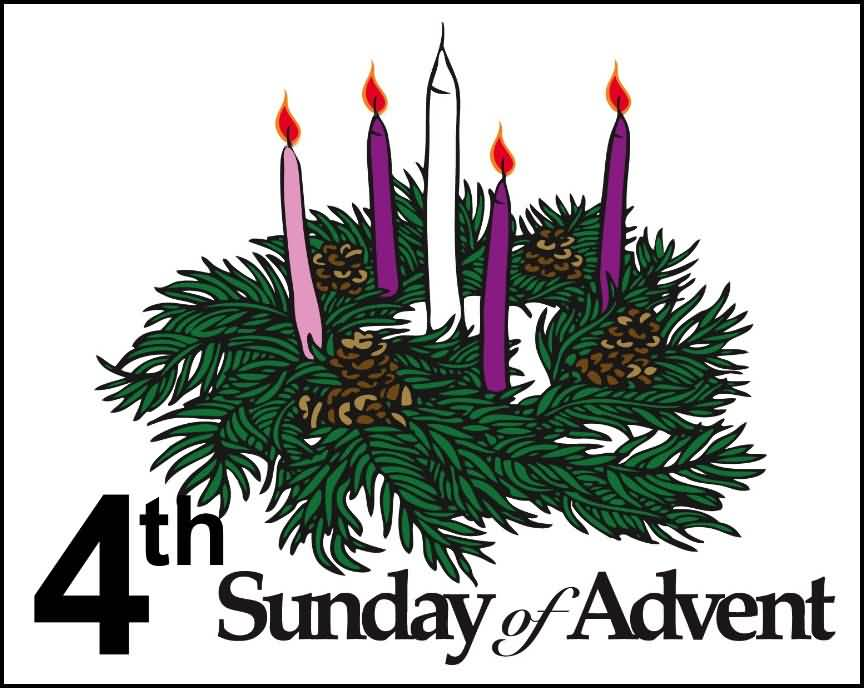 4th Sunday Of Advent Candles And Palm Leaves Clipart.