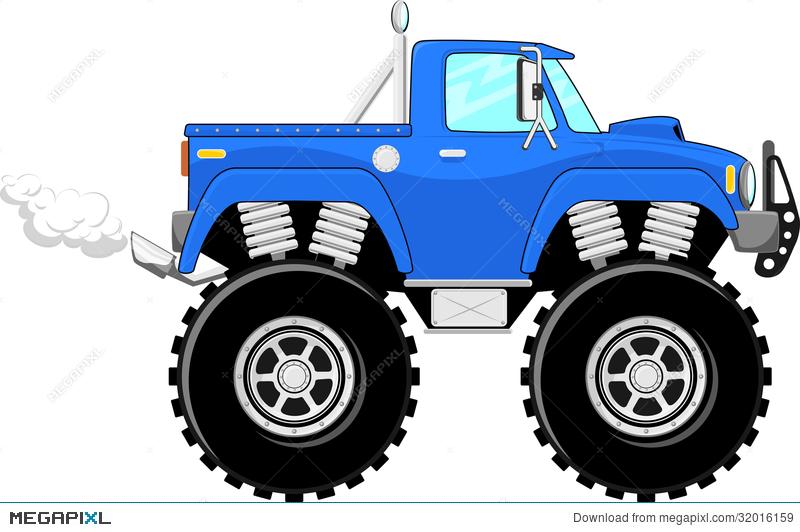 Monster Truck 4X4 Cartoon Illustration 32016159.