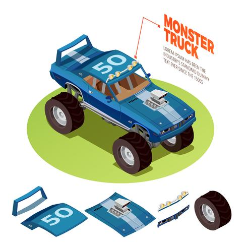 Monster Car 4wd Model Isometric Image.