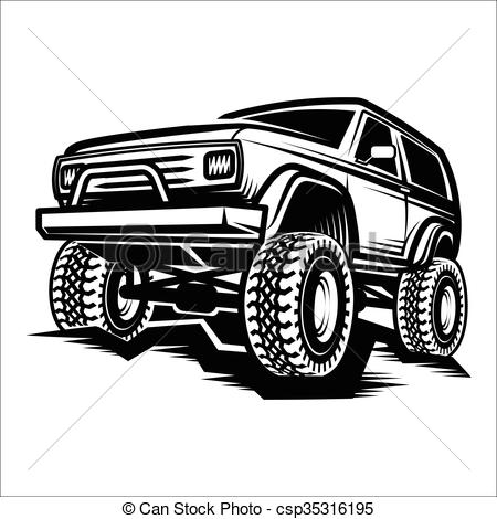 Classic 4x4 Jeep Clipart.