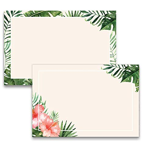 48 Tropical Palm Leaves Note Cards, 4x6 in, Cardstock Thick Paper.