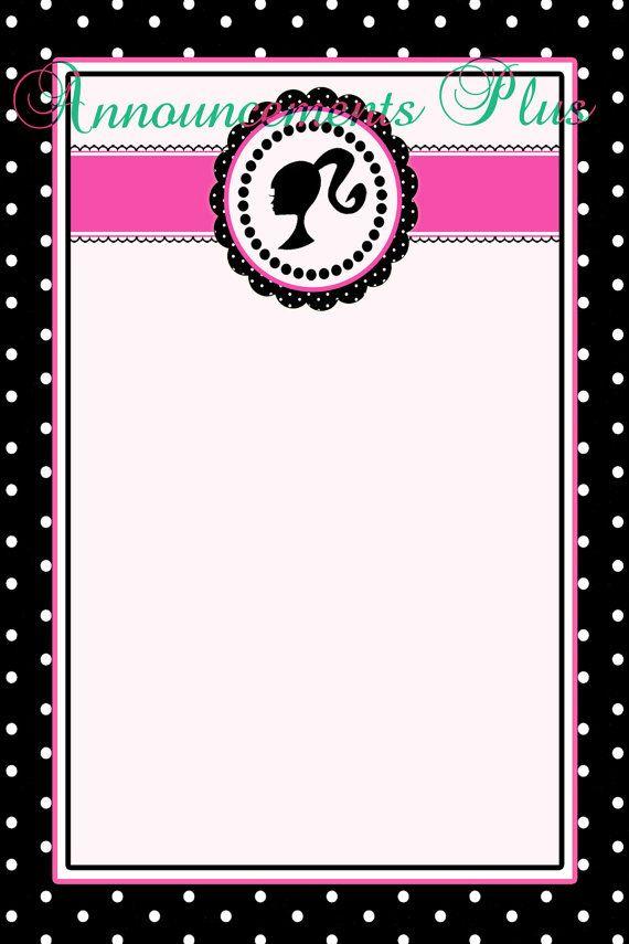 4x6 Barbie Note Card by AnnouncementsPlus, $8.00.