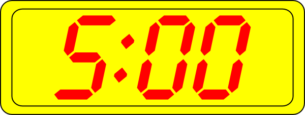 Digital Clock 5:00 Clip Art at Clker.com.