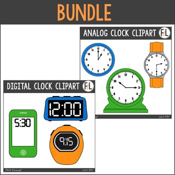 Analog & Digital Clocks Clipart Bundle.