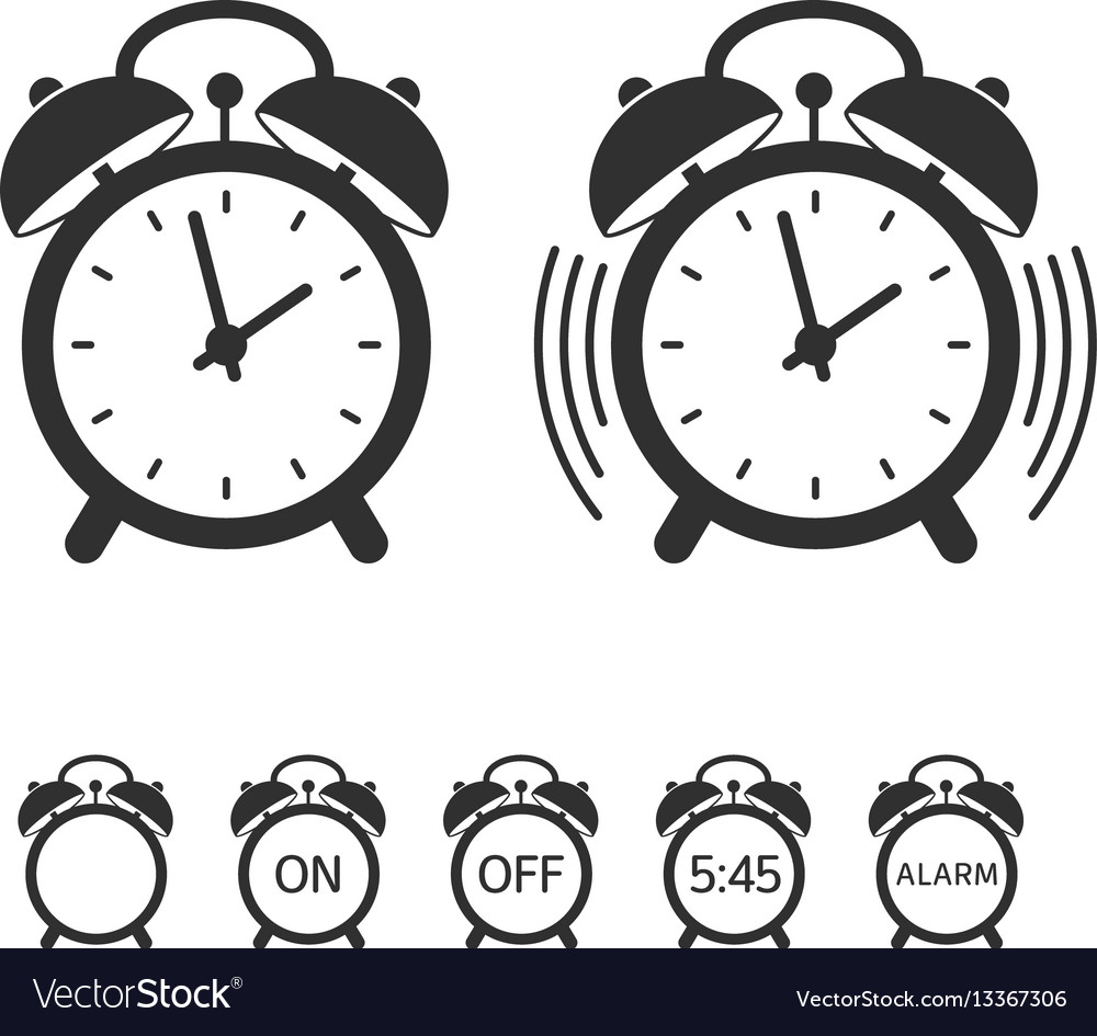 Alarm clock icon set.