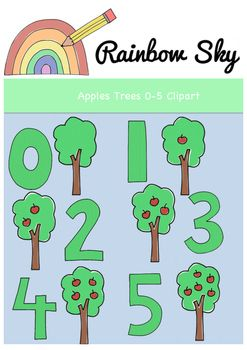 Apple Trees Clipart Numbers 0.